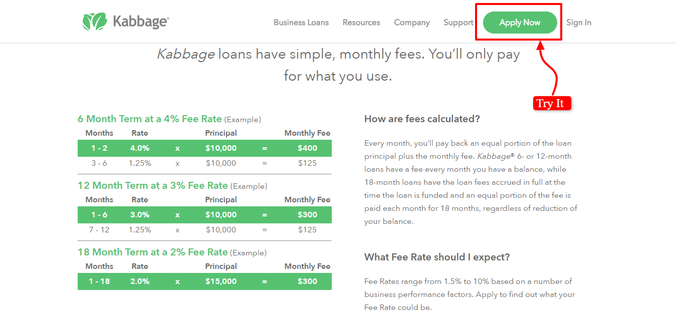 Kabbage Review- Loan Rates and Terms