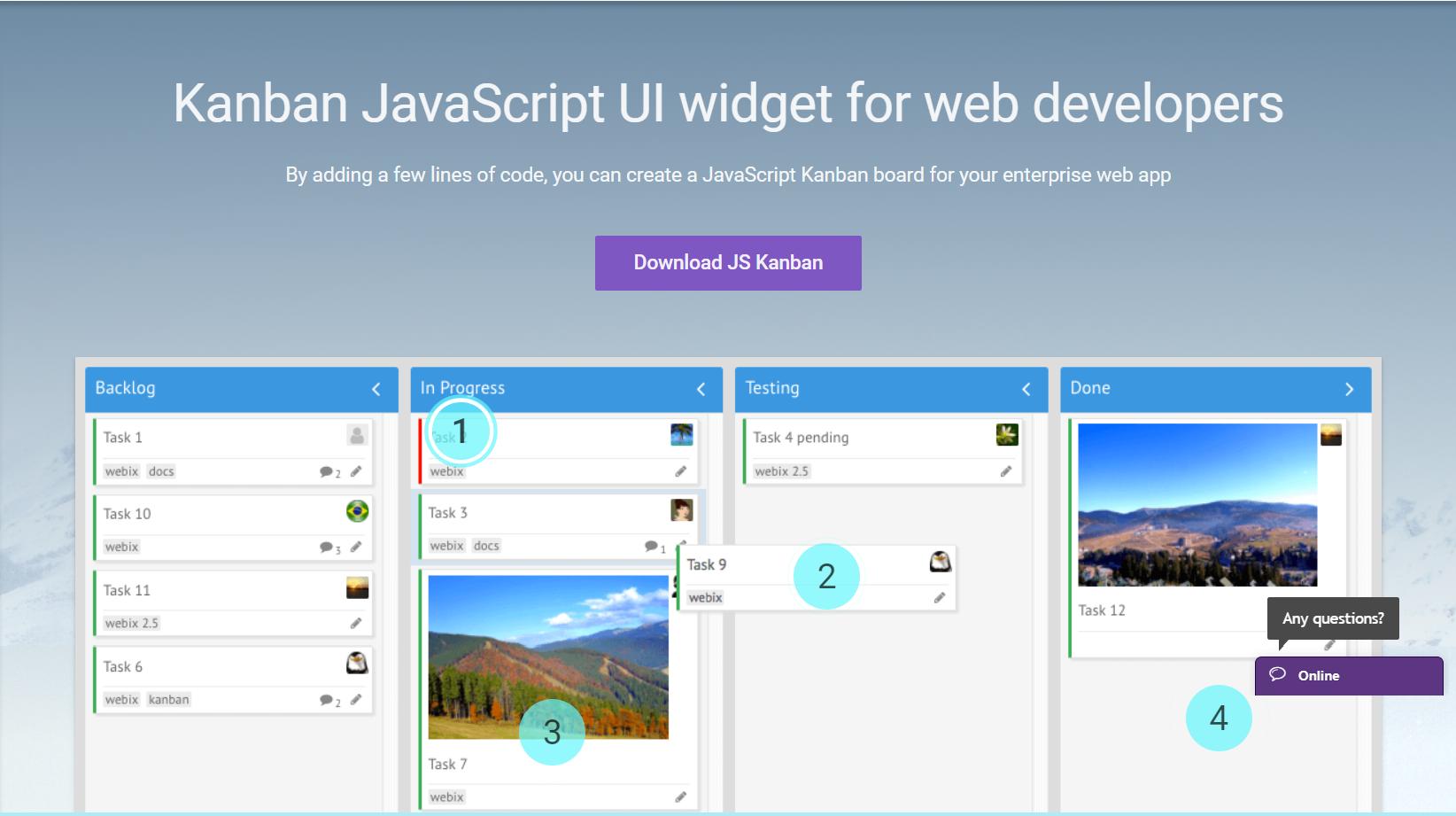 Top 6 UI Widgets for Business Web Applications- Kanban Board