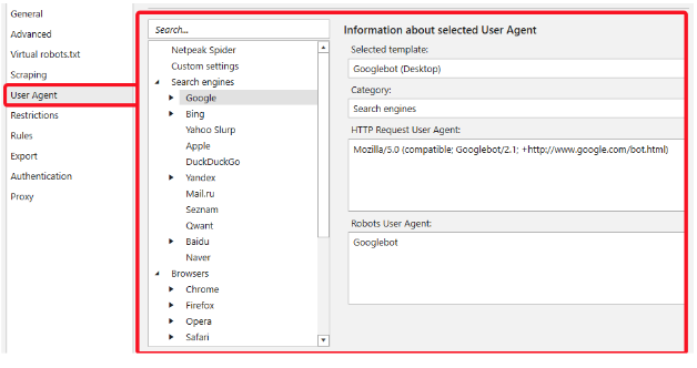 Netpeak Spider Review– User Agents