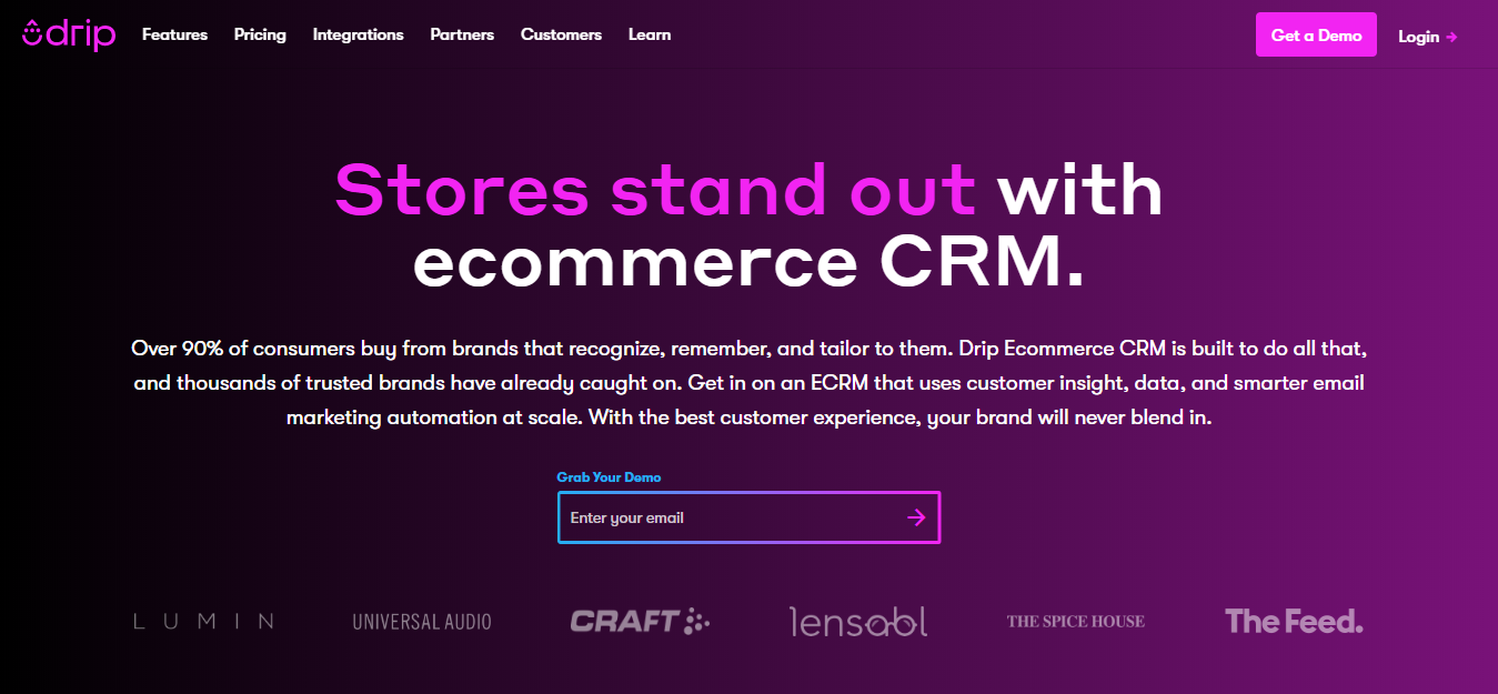 Omnisend vs Drip Ecommerce - drip home page