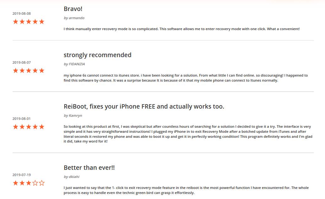Reviews of Tenorshare Reiboot