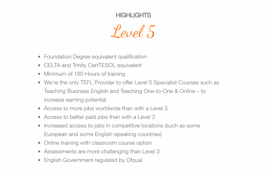TELF Review - Level 5 Course