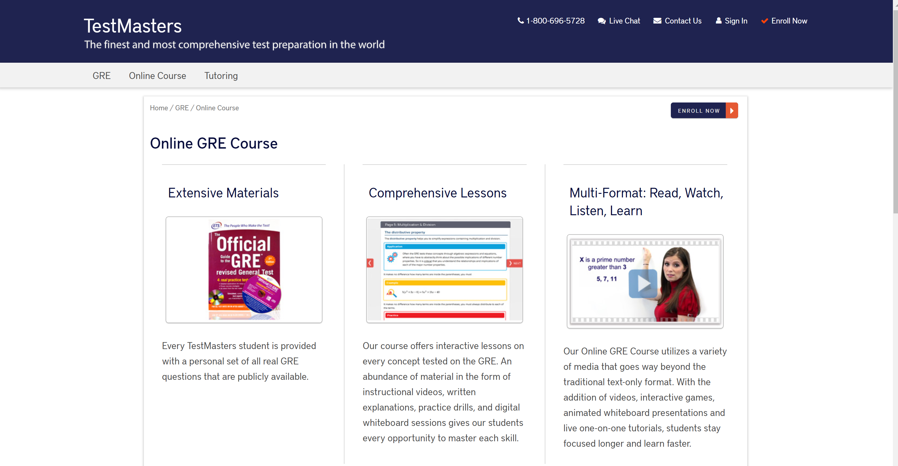 TestMasters GRE Prep courses