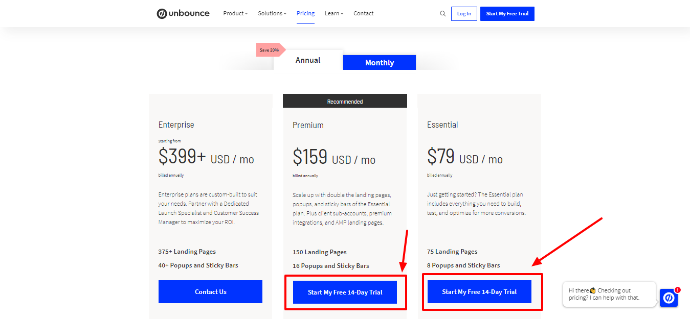 Unbounce - pricing plan