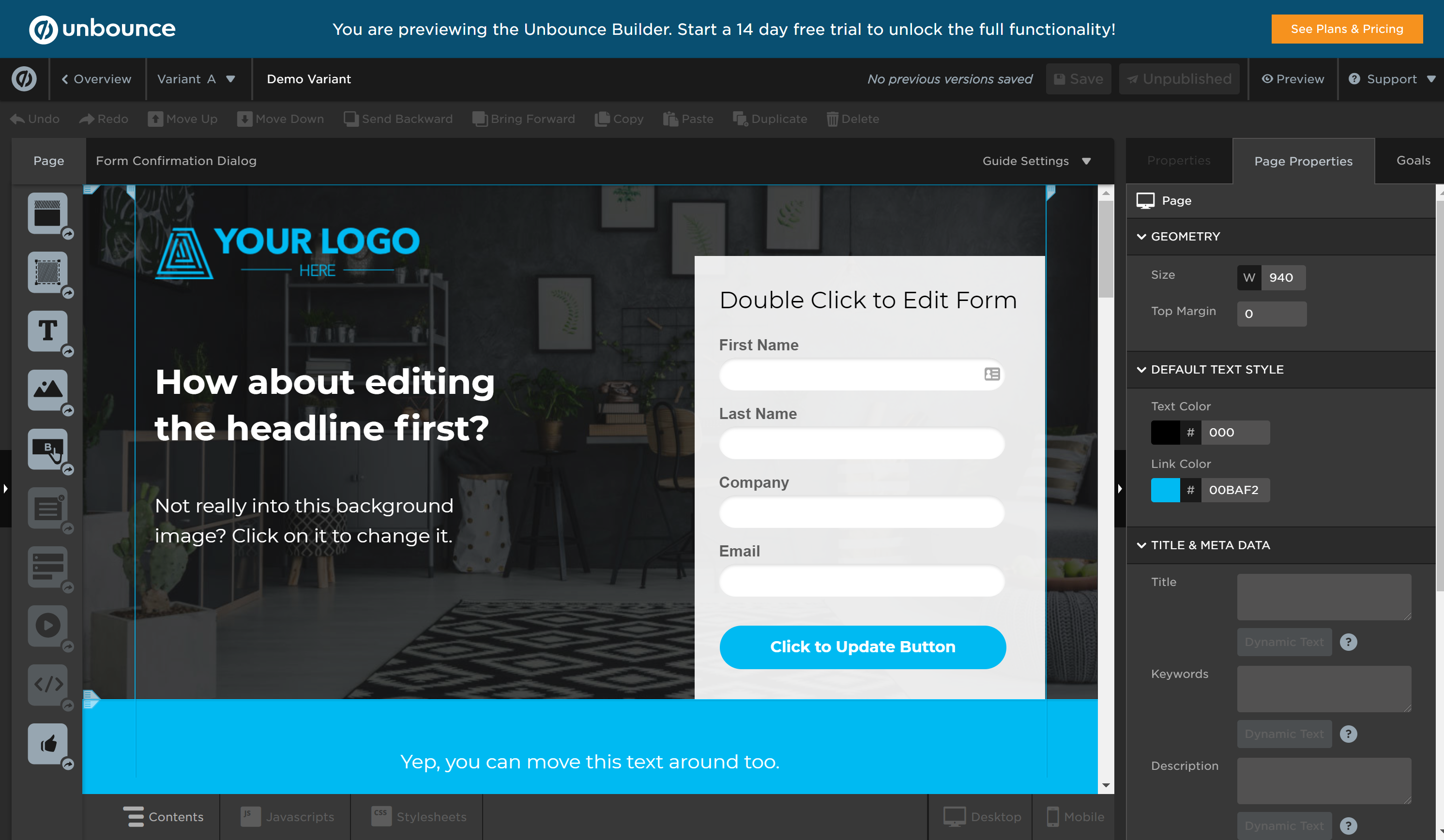 Unbounce builder features