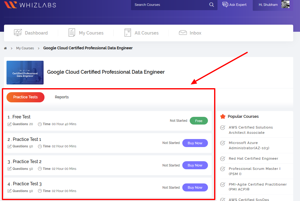Whizlabs Online Certification Training Courses for Professionals- Dashboard