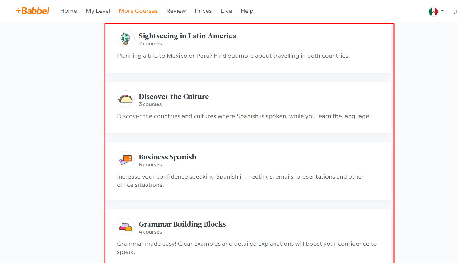 more courses on babbel