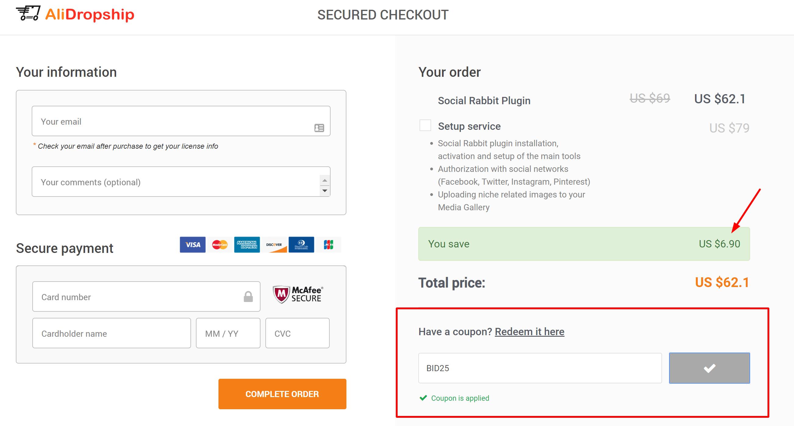 social rabbit plugin discount coupon