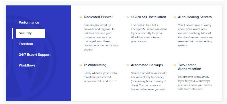 Cloudways vs WPMU DEV - Cloudways Managed Security