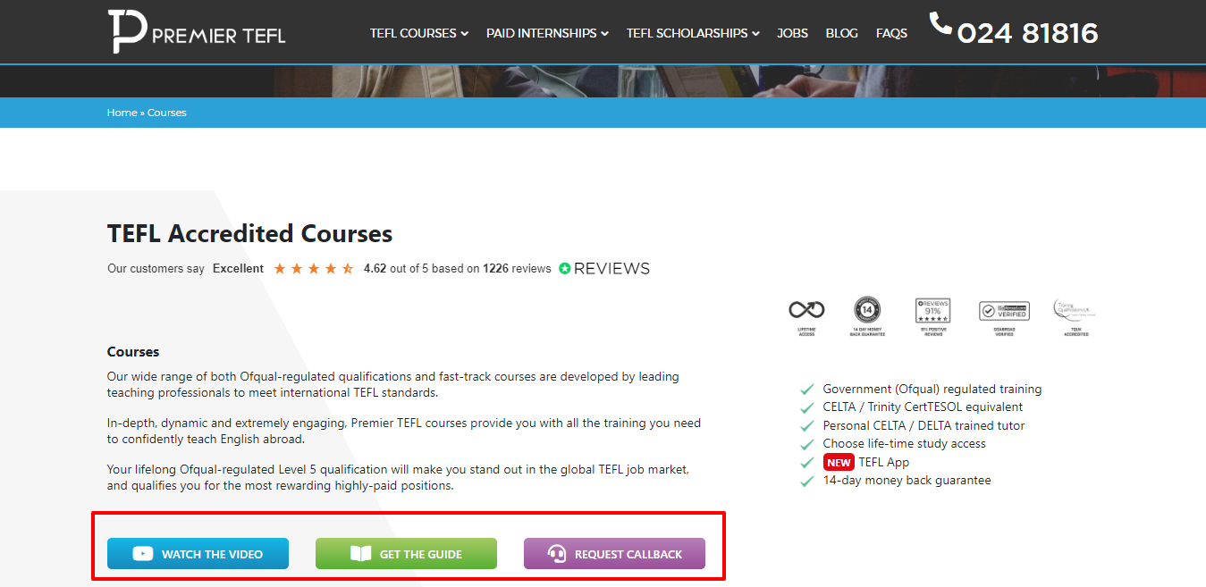 Accredited Online TEFL Courses - 120 to 290 hours - Premier TEFL Review