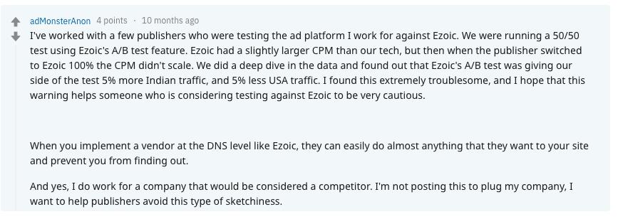 Ezoic Reddit Review