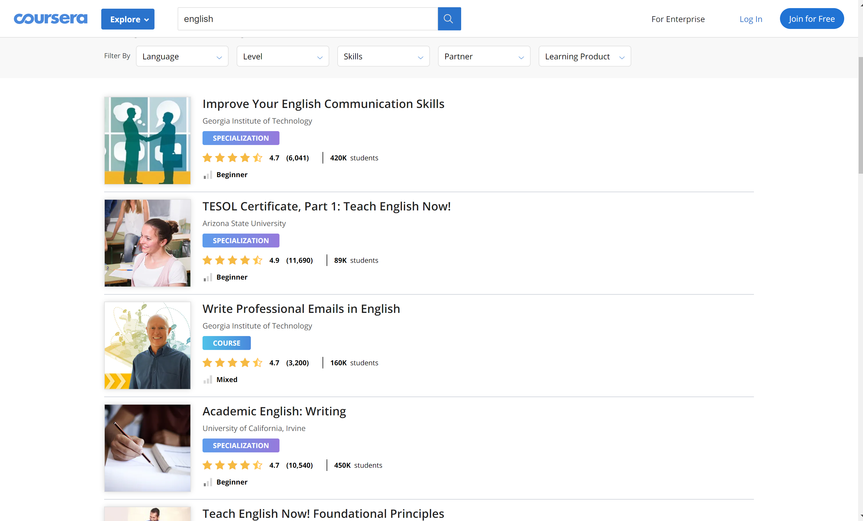 Coursera English courses