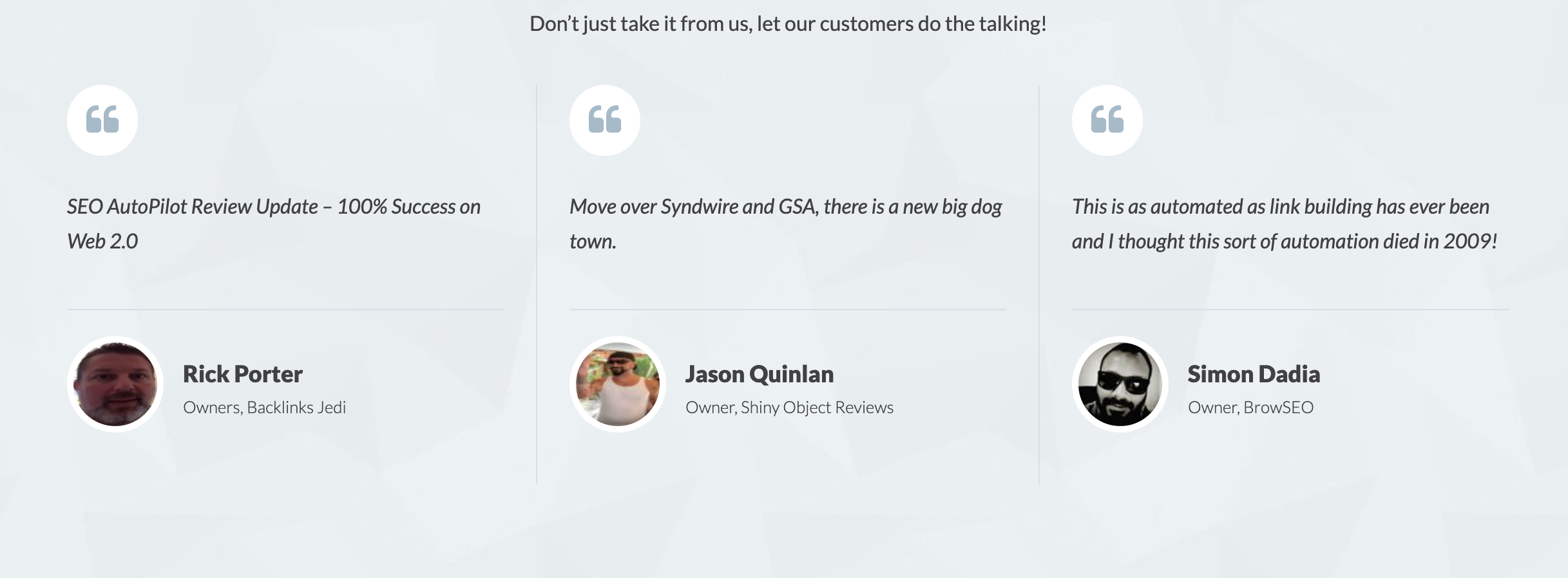 Customer Reviews SEO AUTOPILOT