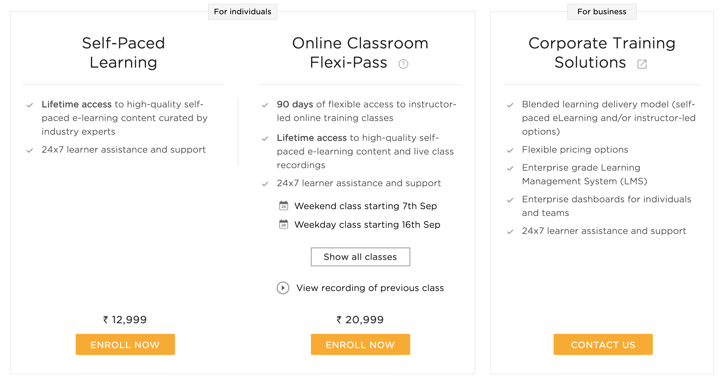 Digital Marketing Course- Pricing Plans