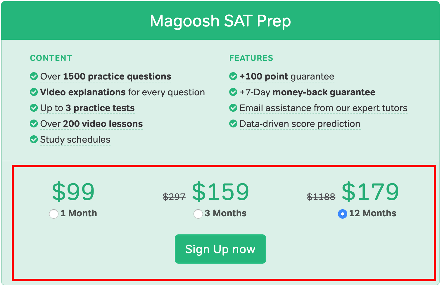 Magoosh SAT Plans- Pricing