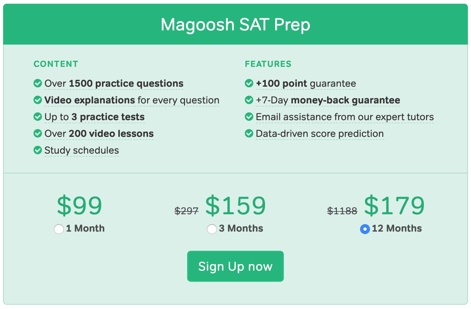 Magoosh SAT Pricing