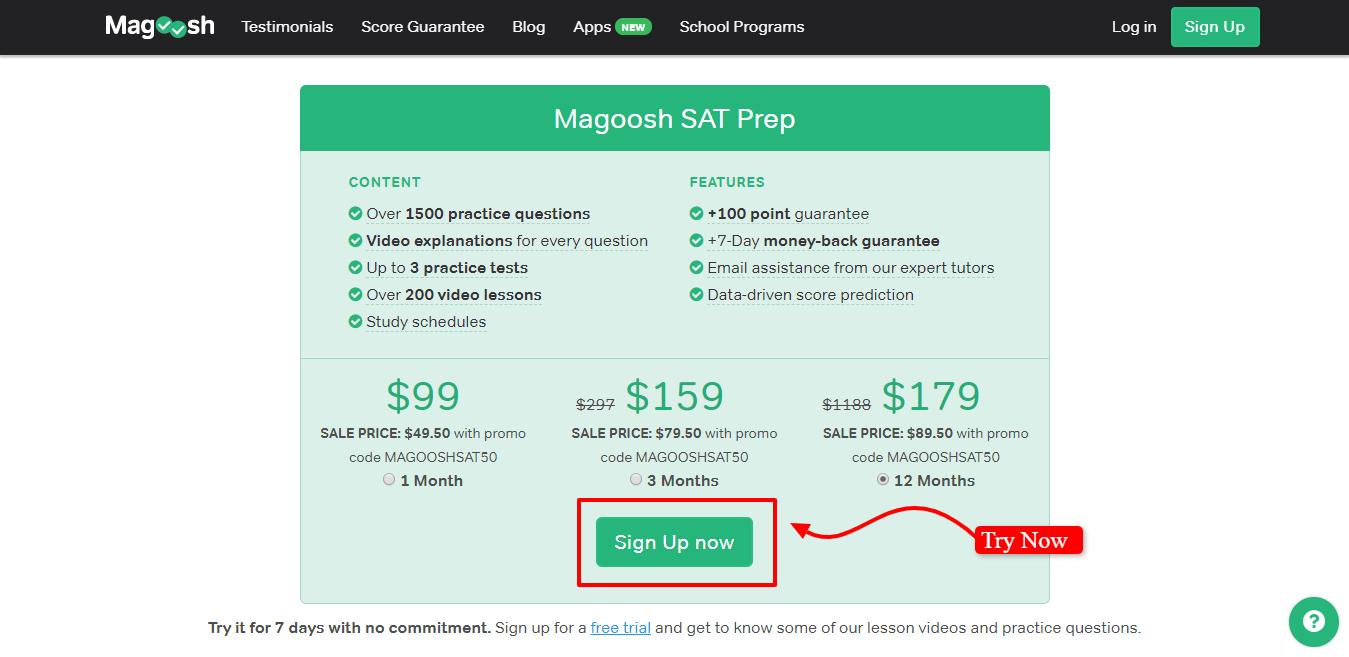 Magoosh SAT Review - Magoosh SAT Plans Pricing