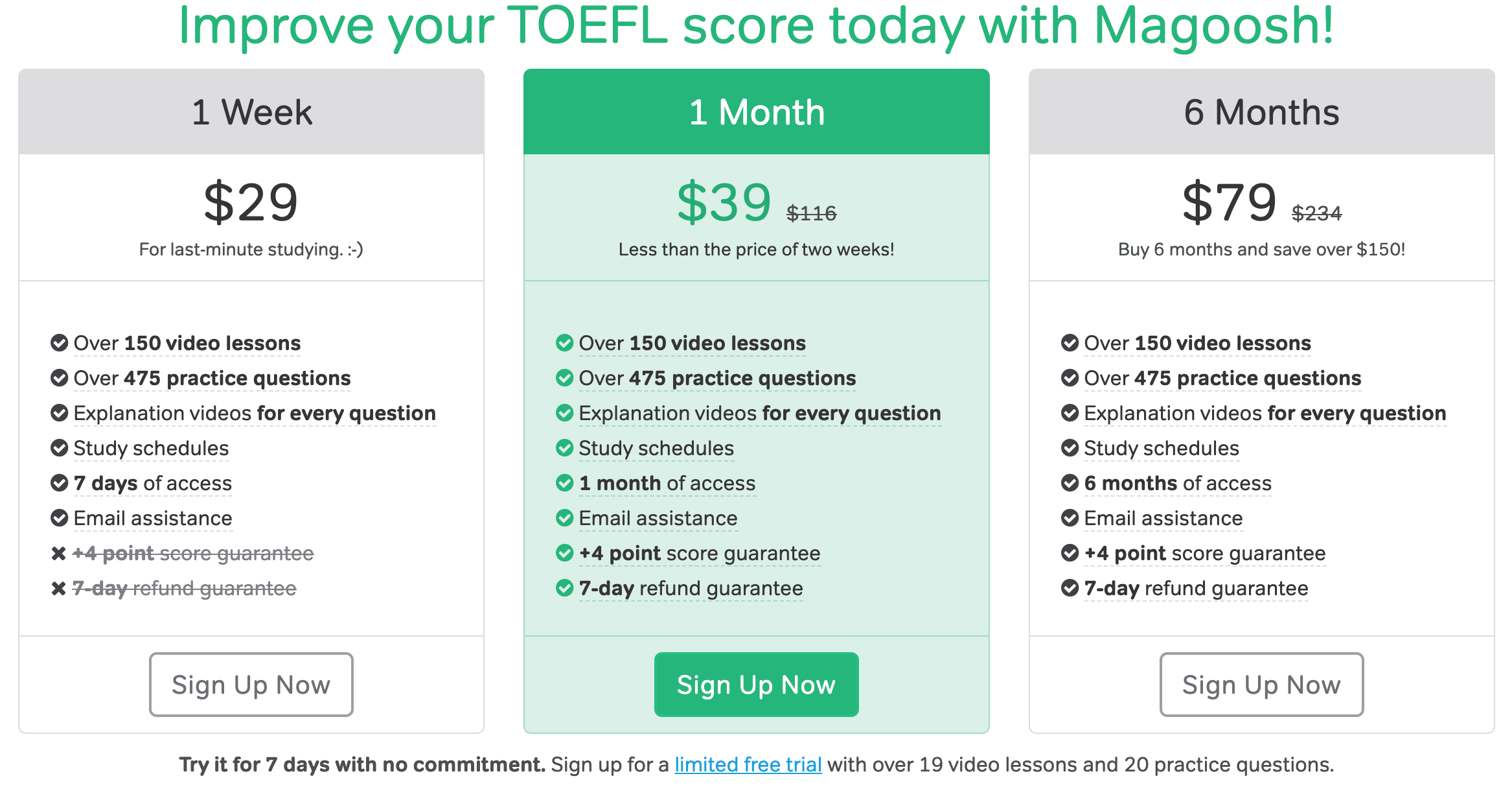 Magoosh TOEFL Pricing