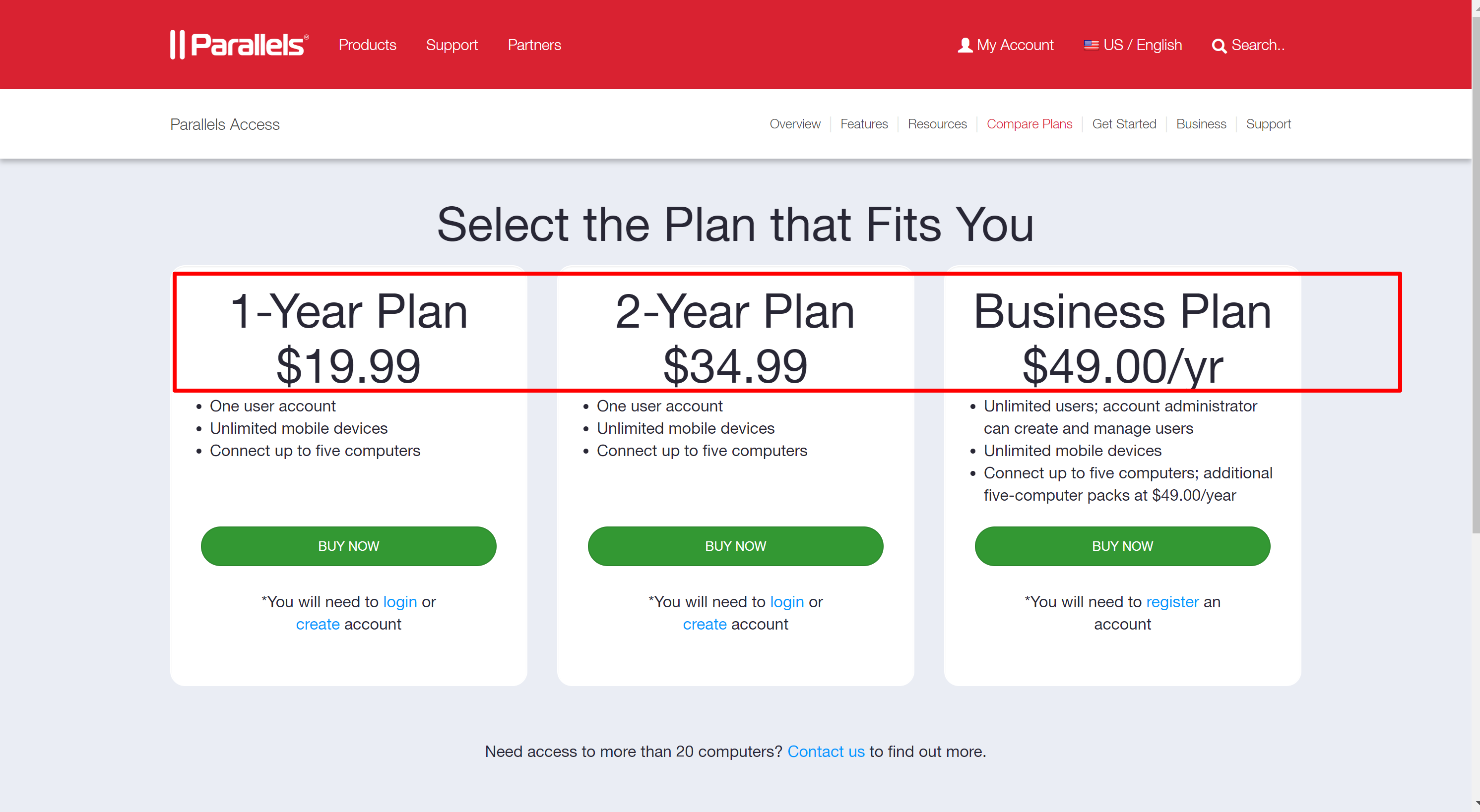 Parallels access pricing