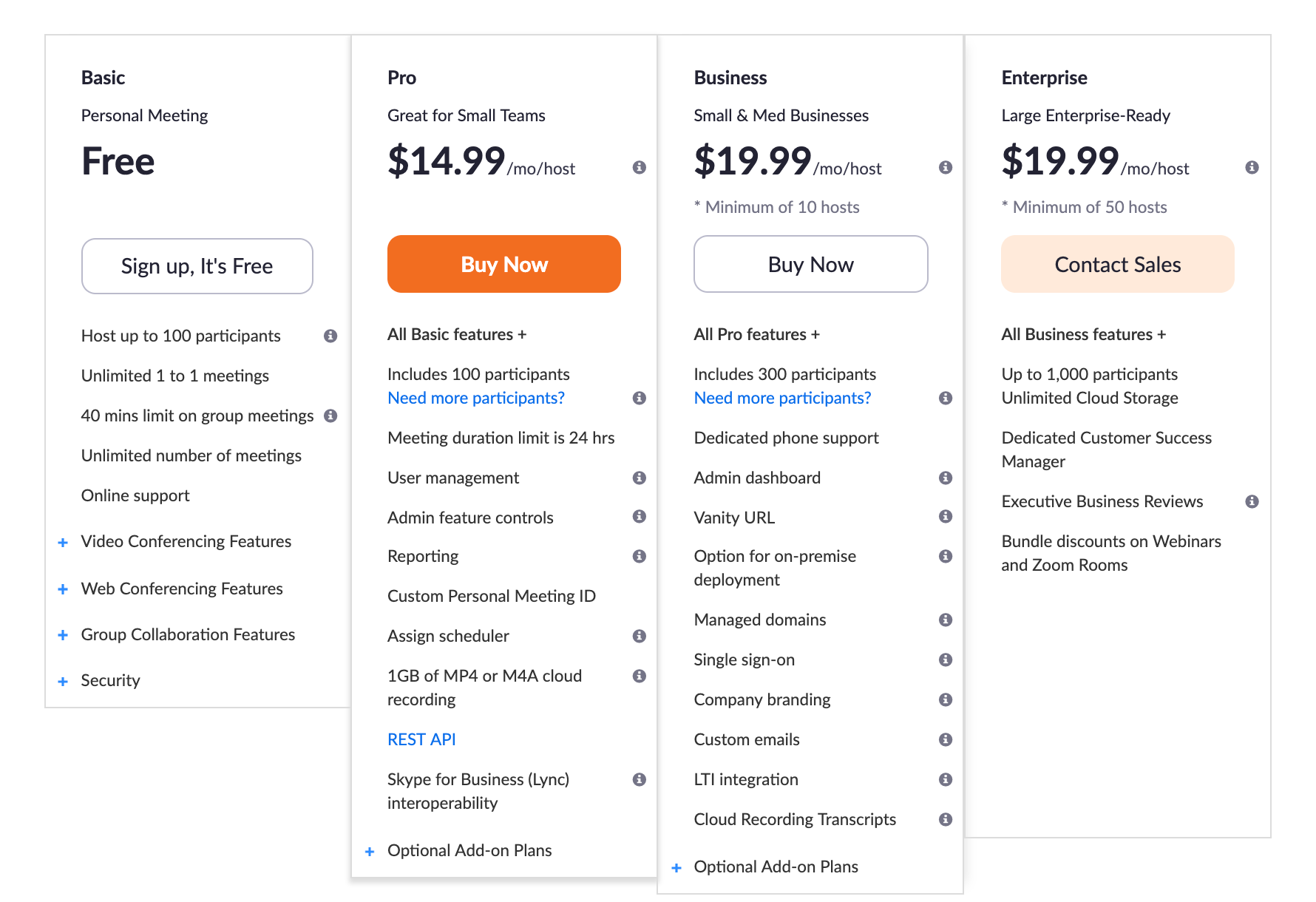 Plans and Pricing - Zoom