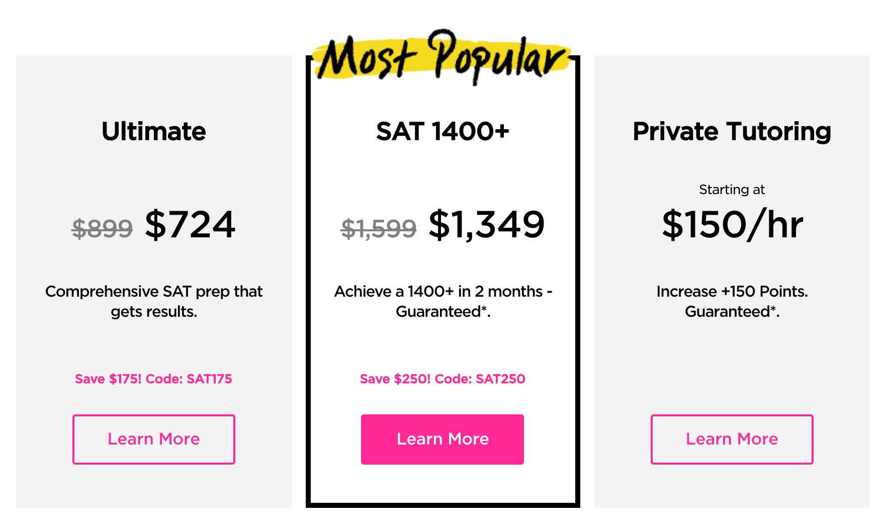 Princeton SAT Pricing