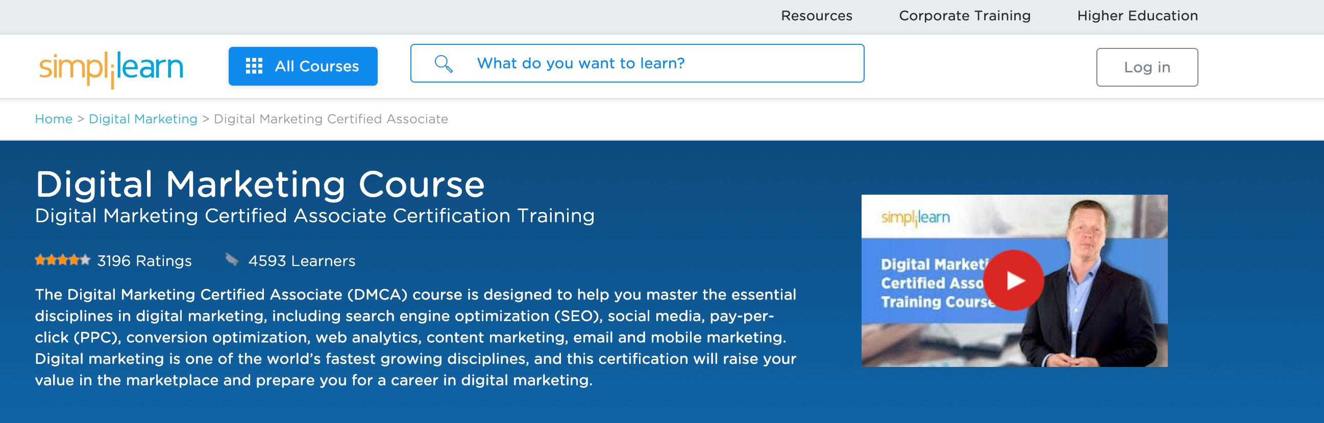 Simplilearn Digital Marketing Course-