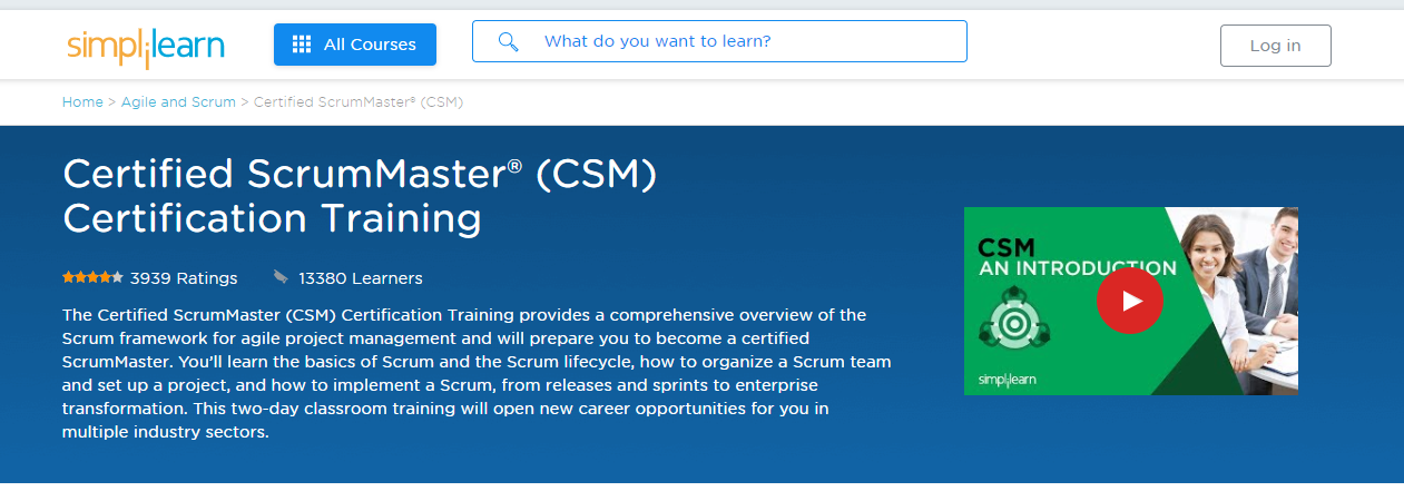 Simplilearn Review - CSM Certification Training Course