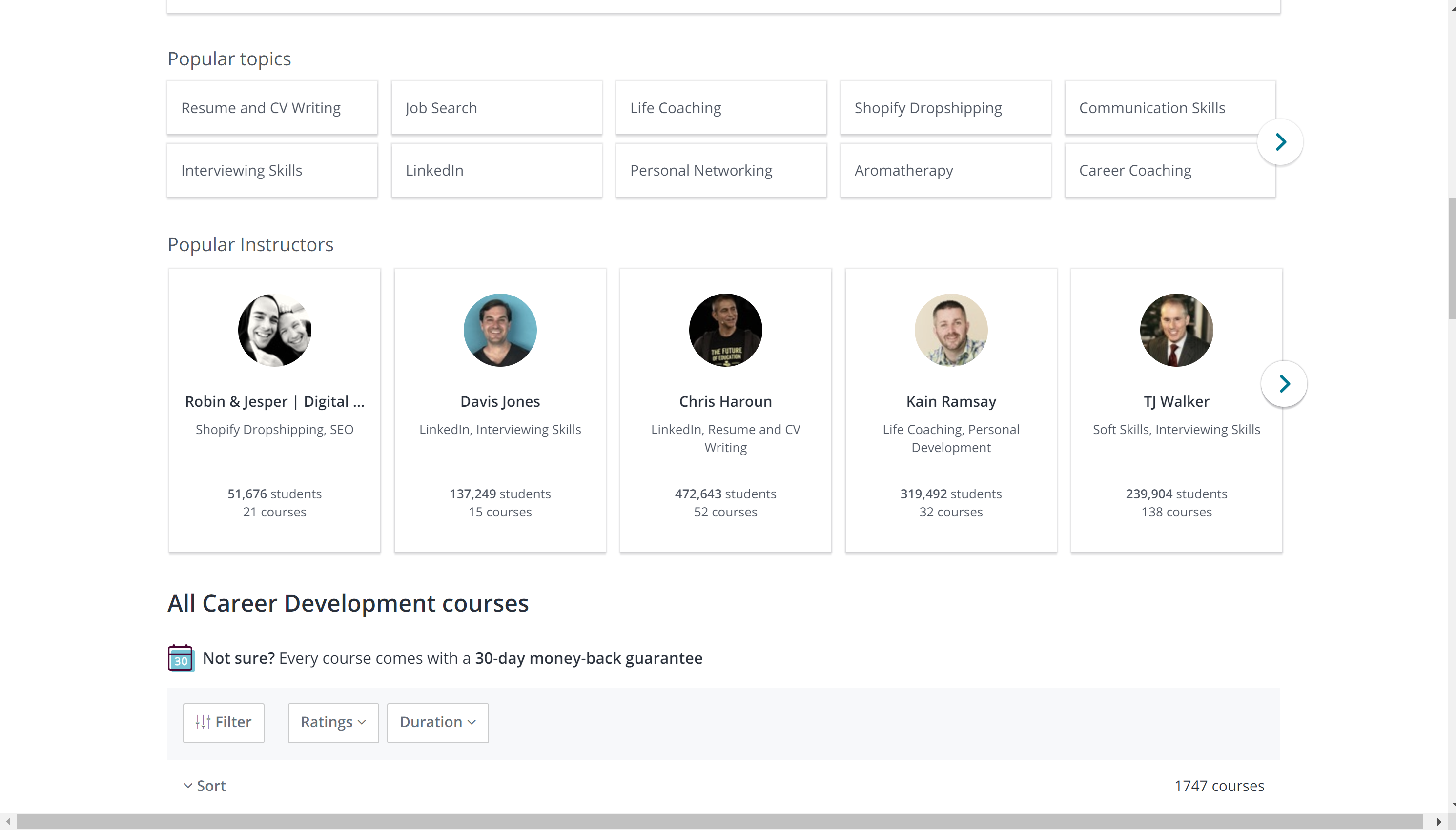 Udemy career development courses