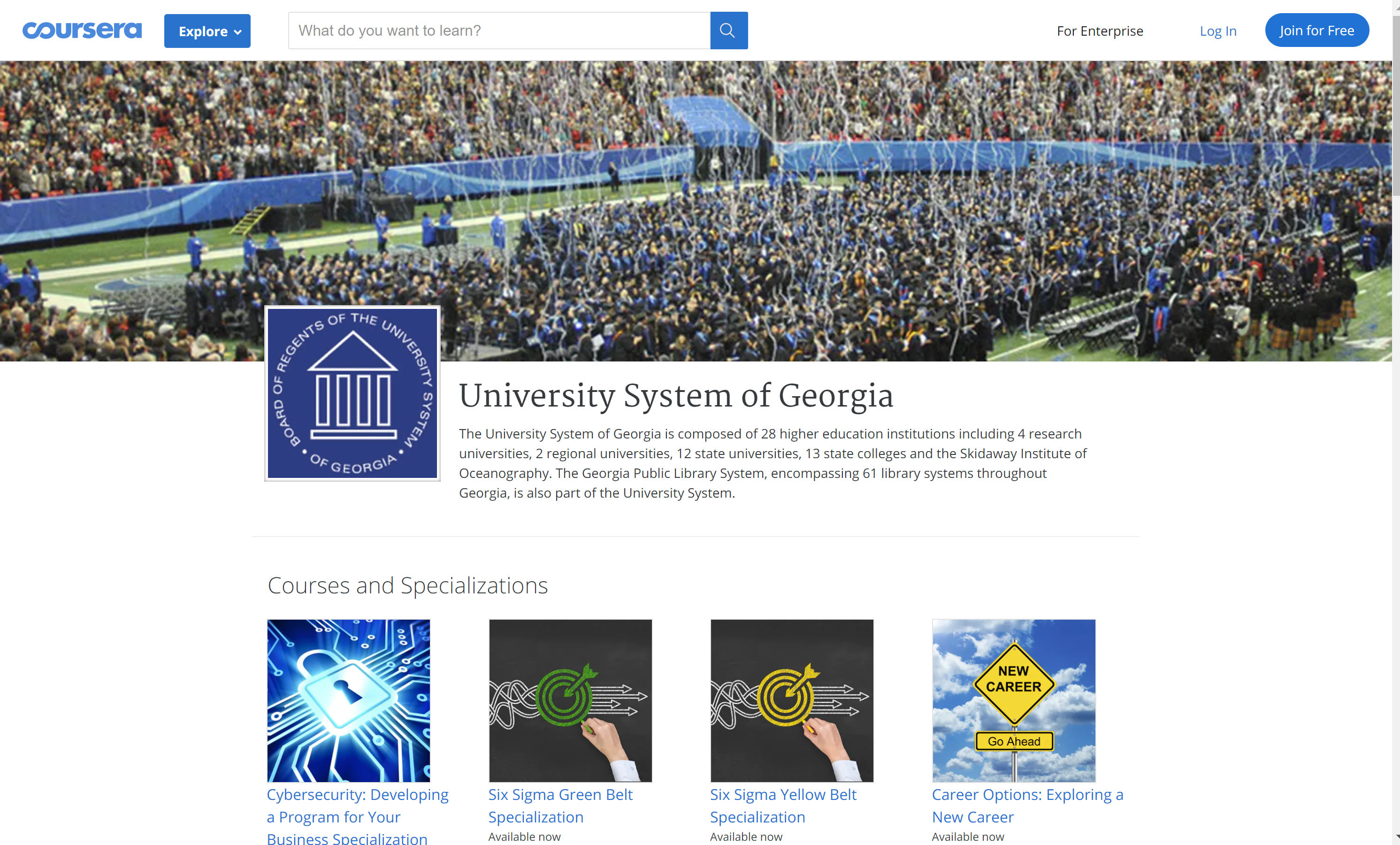 University System of Georgia Online Courses Coursera