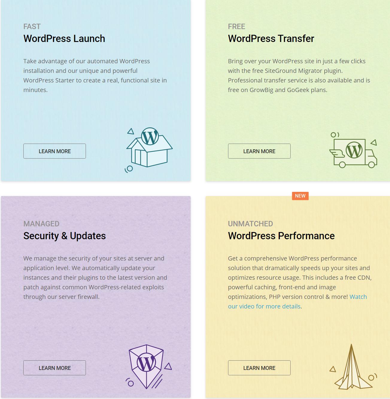 Pressable vs BlueHost vs SiteGround Comparison Review - SiteGround Features