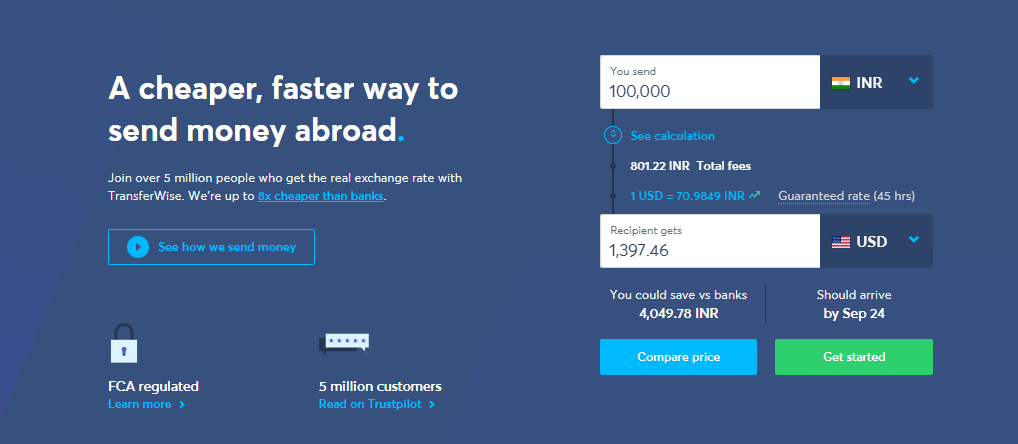 transferwise vs WesternUnion - transfer money