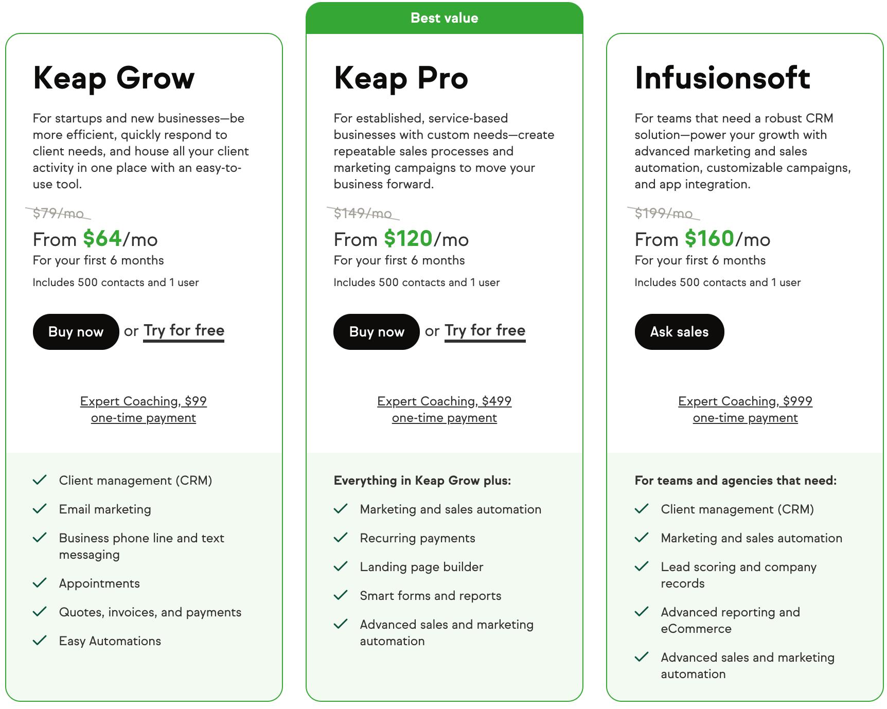 Keap aka Infusionsoft pricing Plans