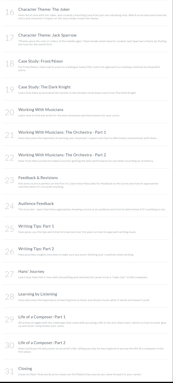 HANS ZIMMER – MUSIC CLASSES Review - MasterClass Lesson Plan