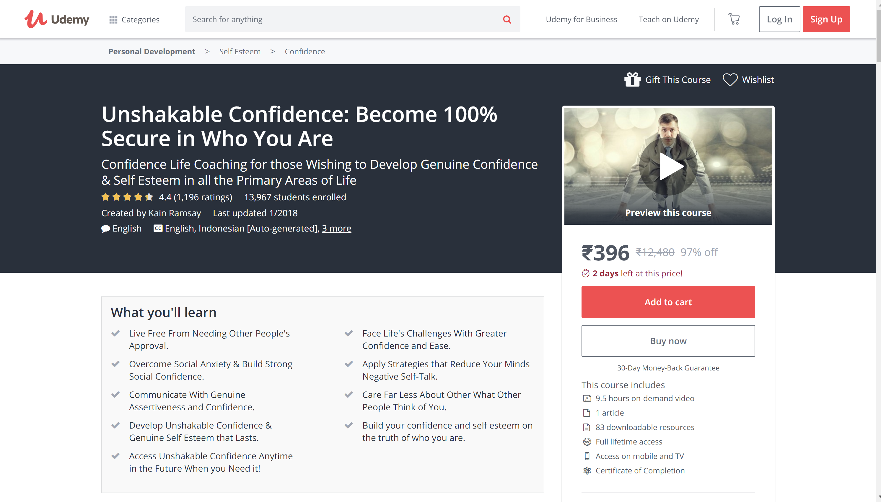 Udemy Seld confidence builder