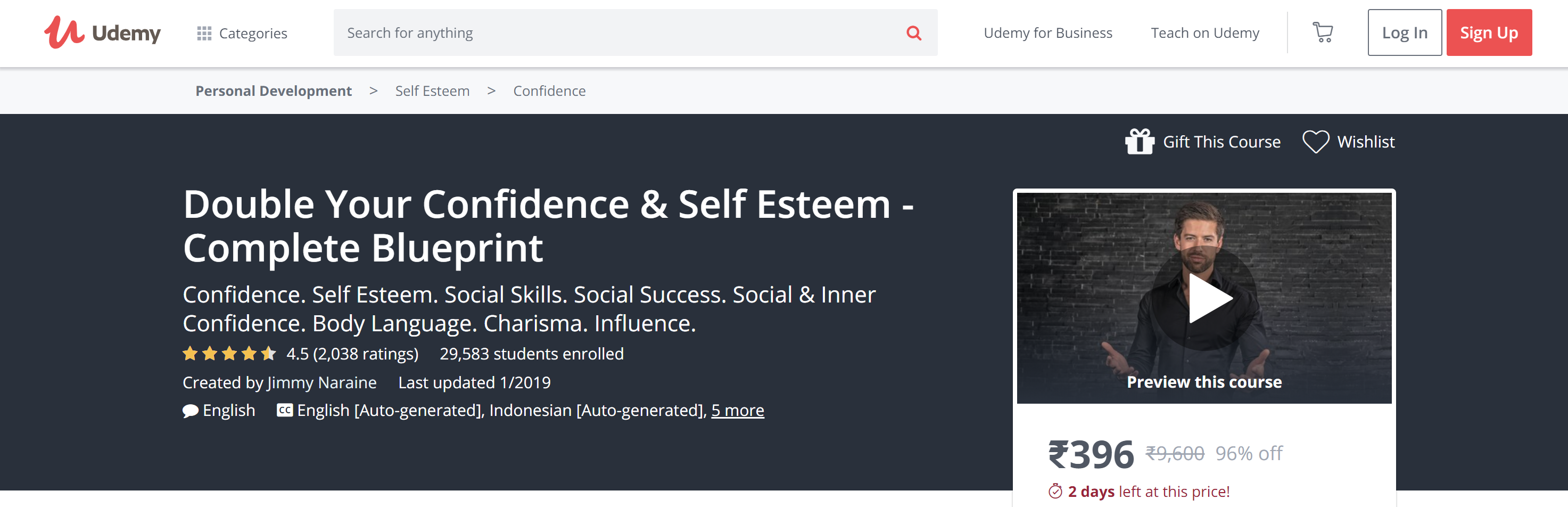 Udemy self esteem courses