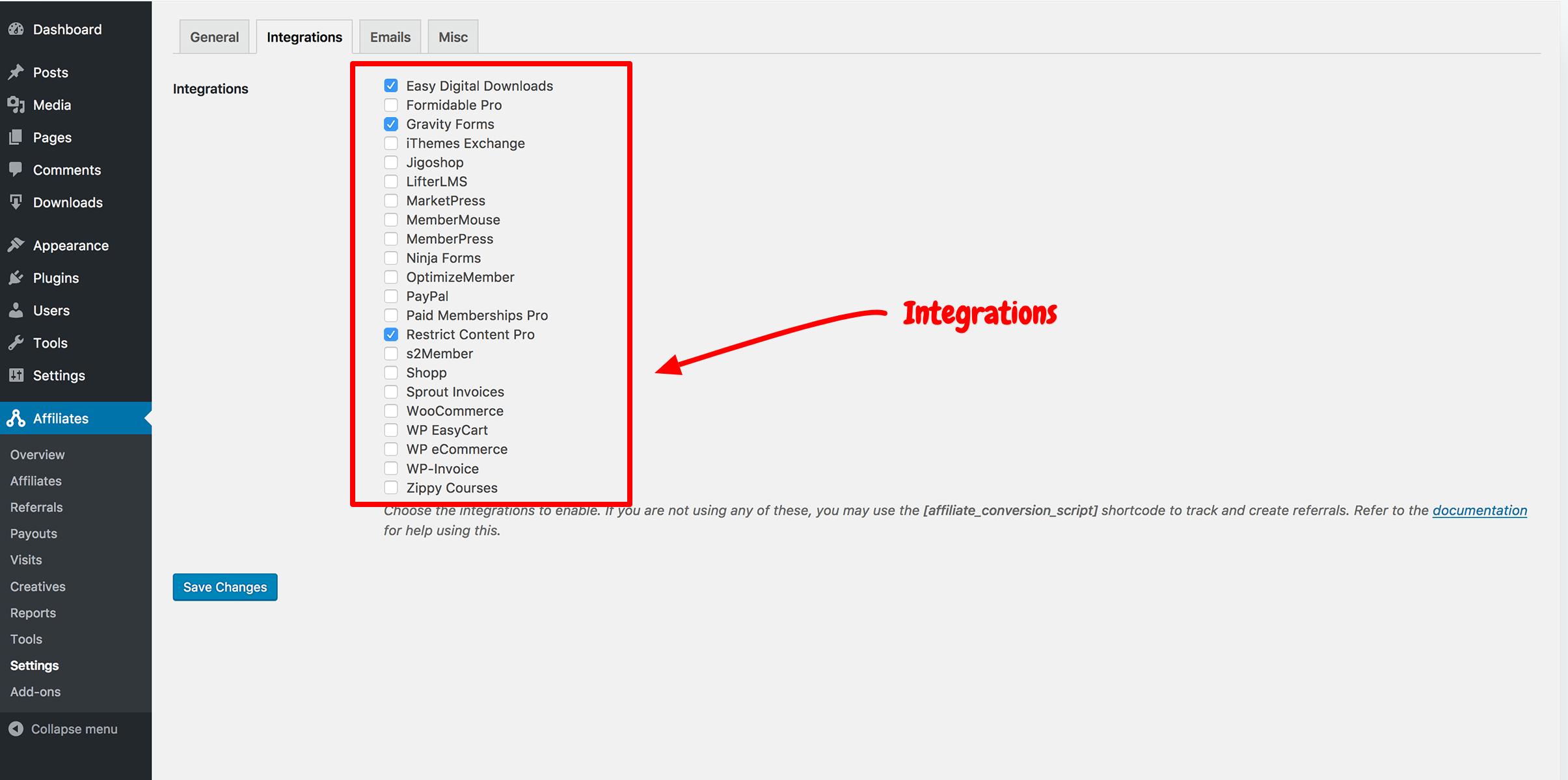 AffiliateWP- Integrations