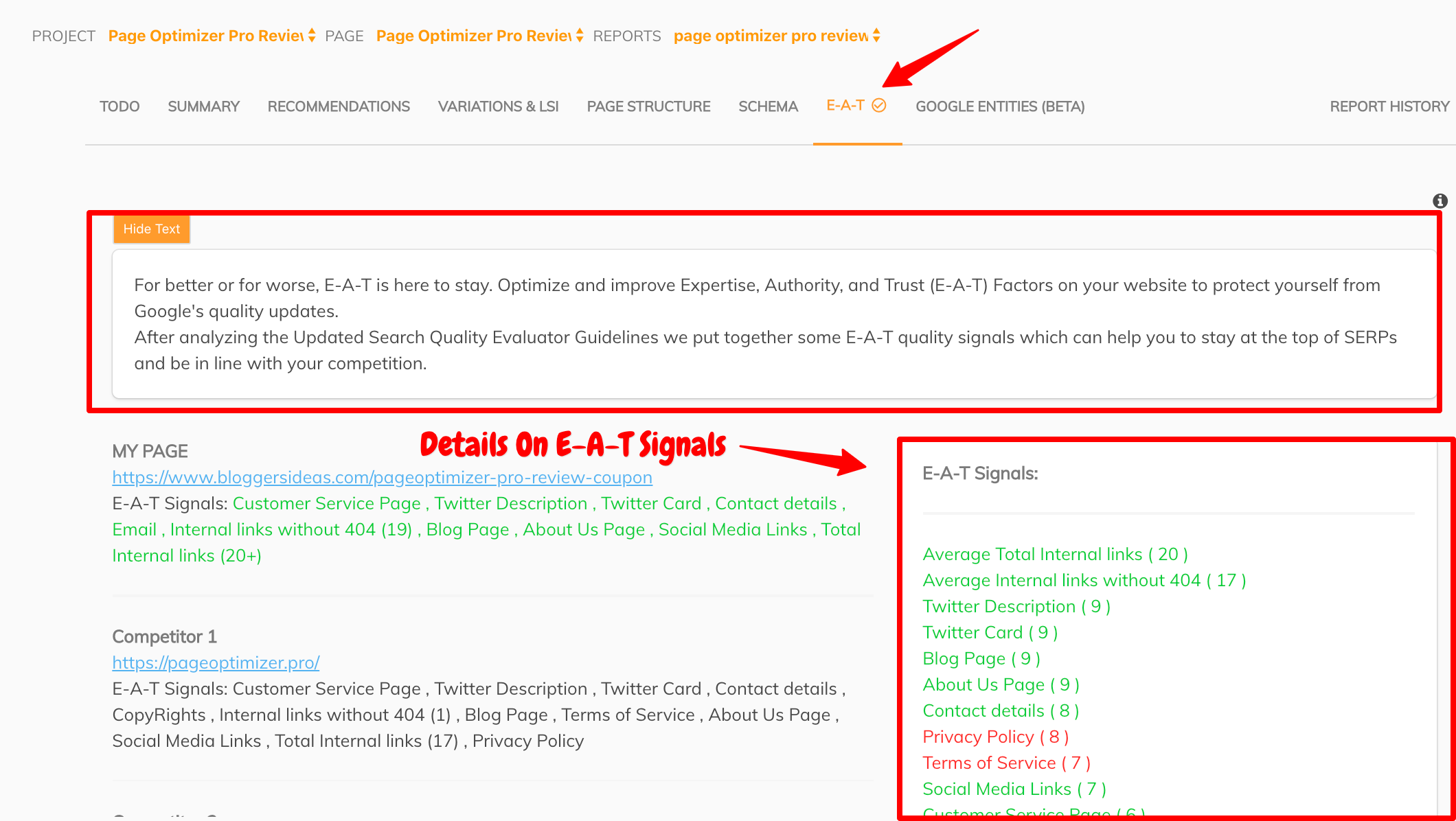 Page Optimizer Pro- details on EAT Signal