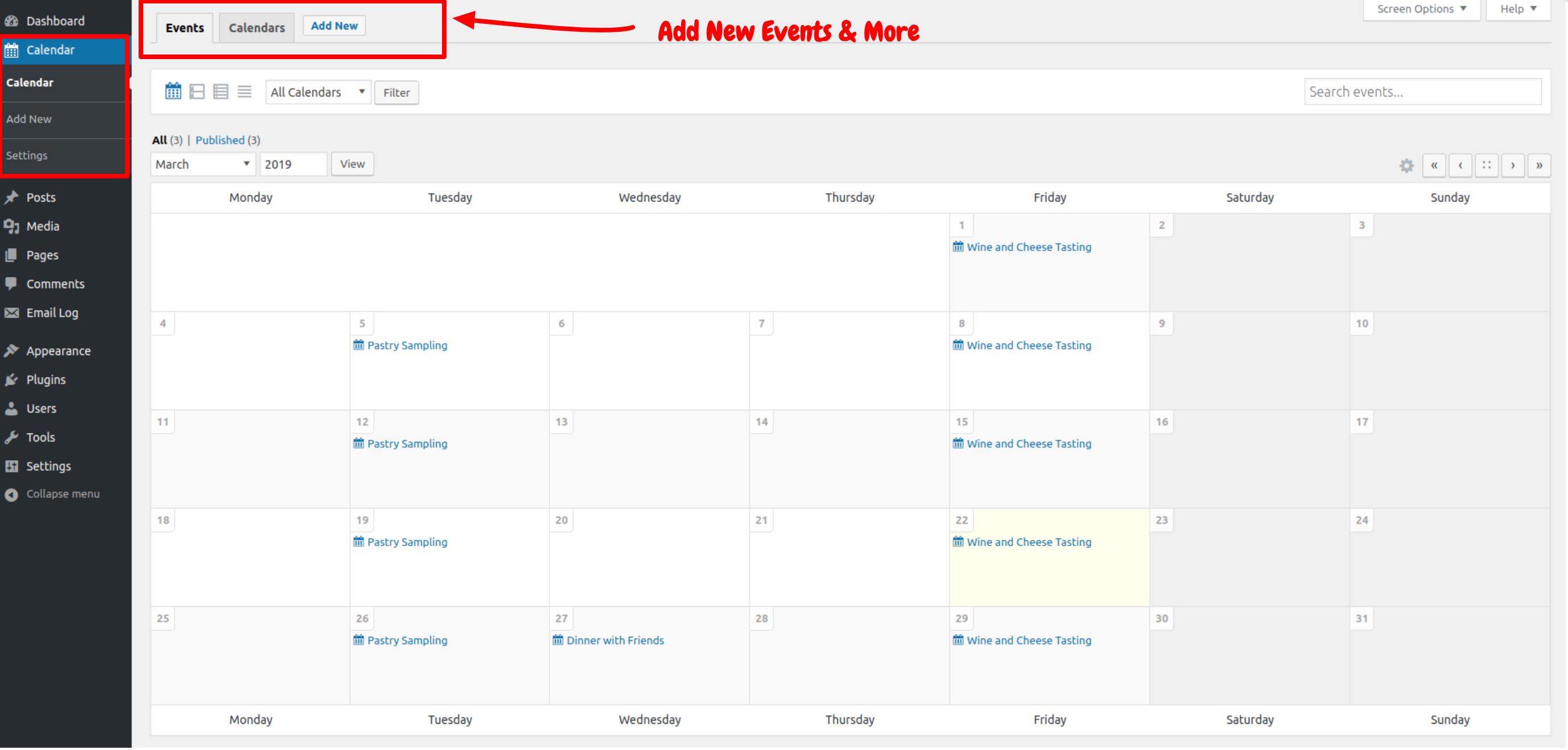 Sugar Calendar- Adding Events