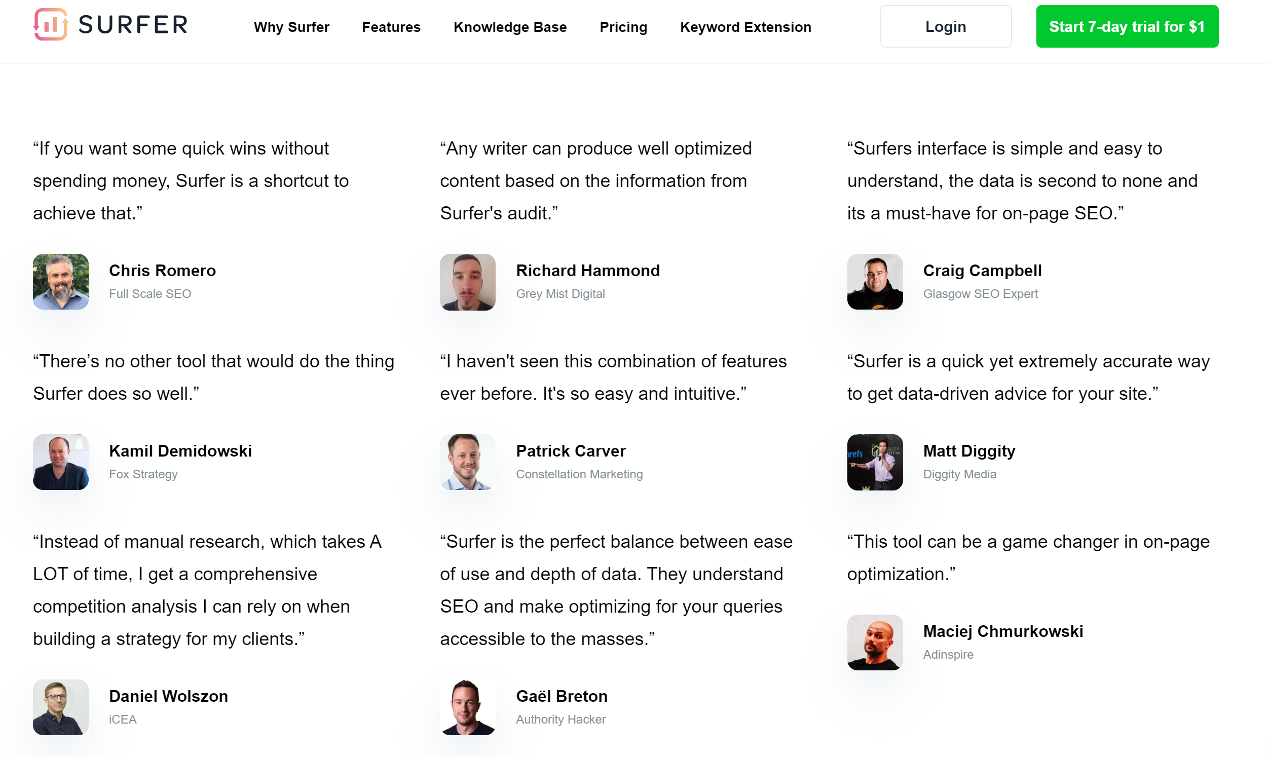 Surfer SEO testimonials from SEO experts