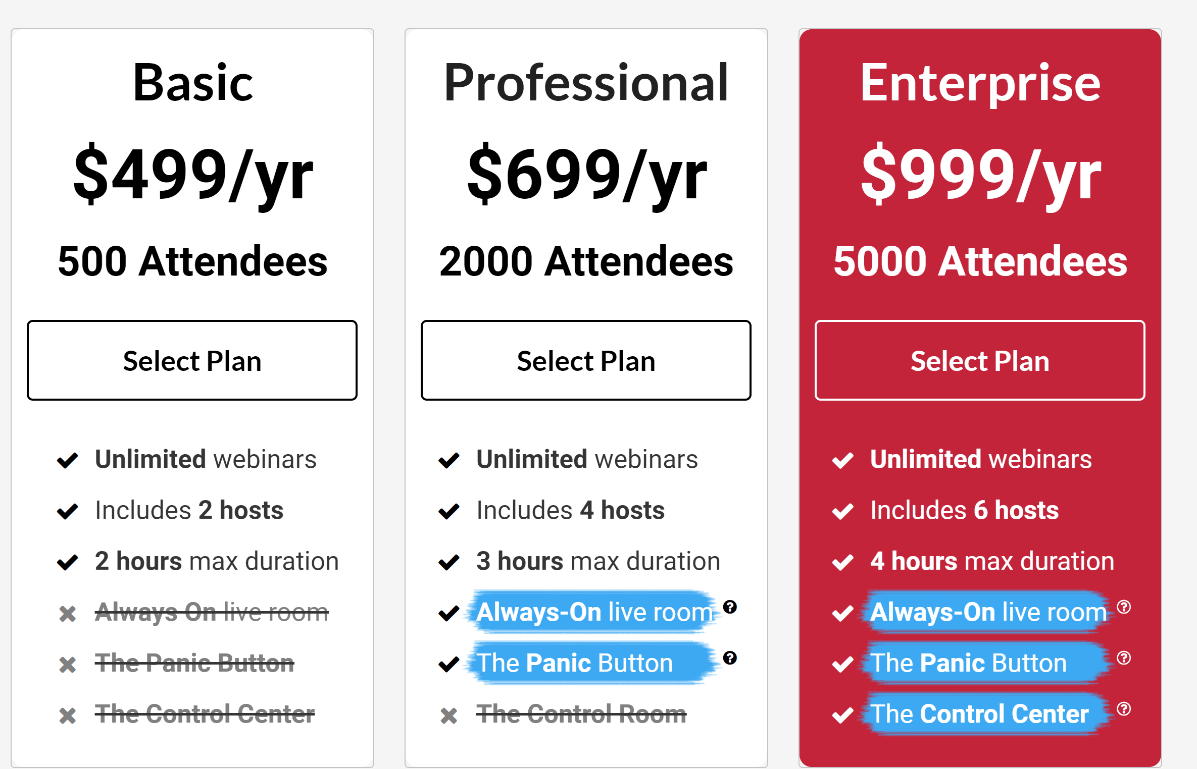 Webinarjam pricing plans