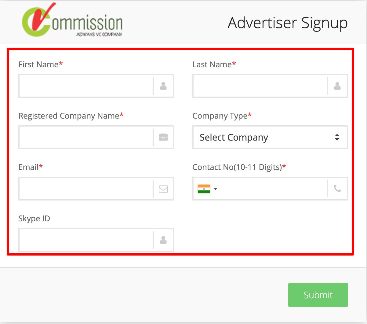 Advertiser Signup – vCommission Sign Up