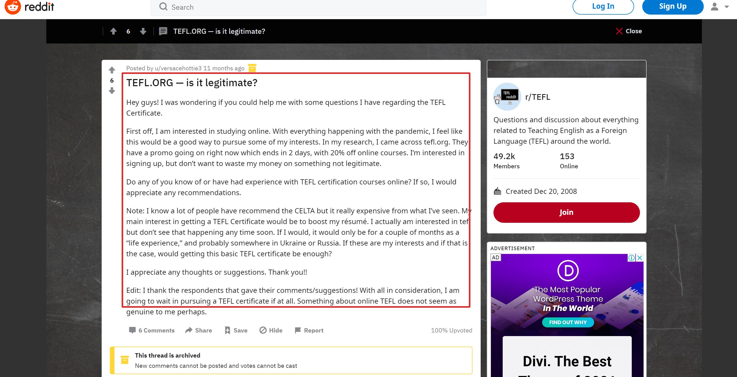 Tefl org Reddit Reviews