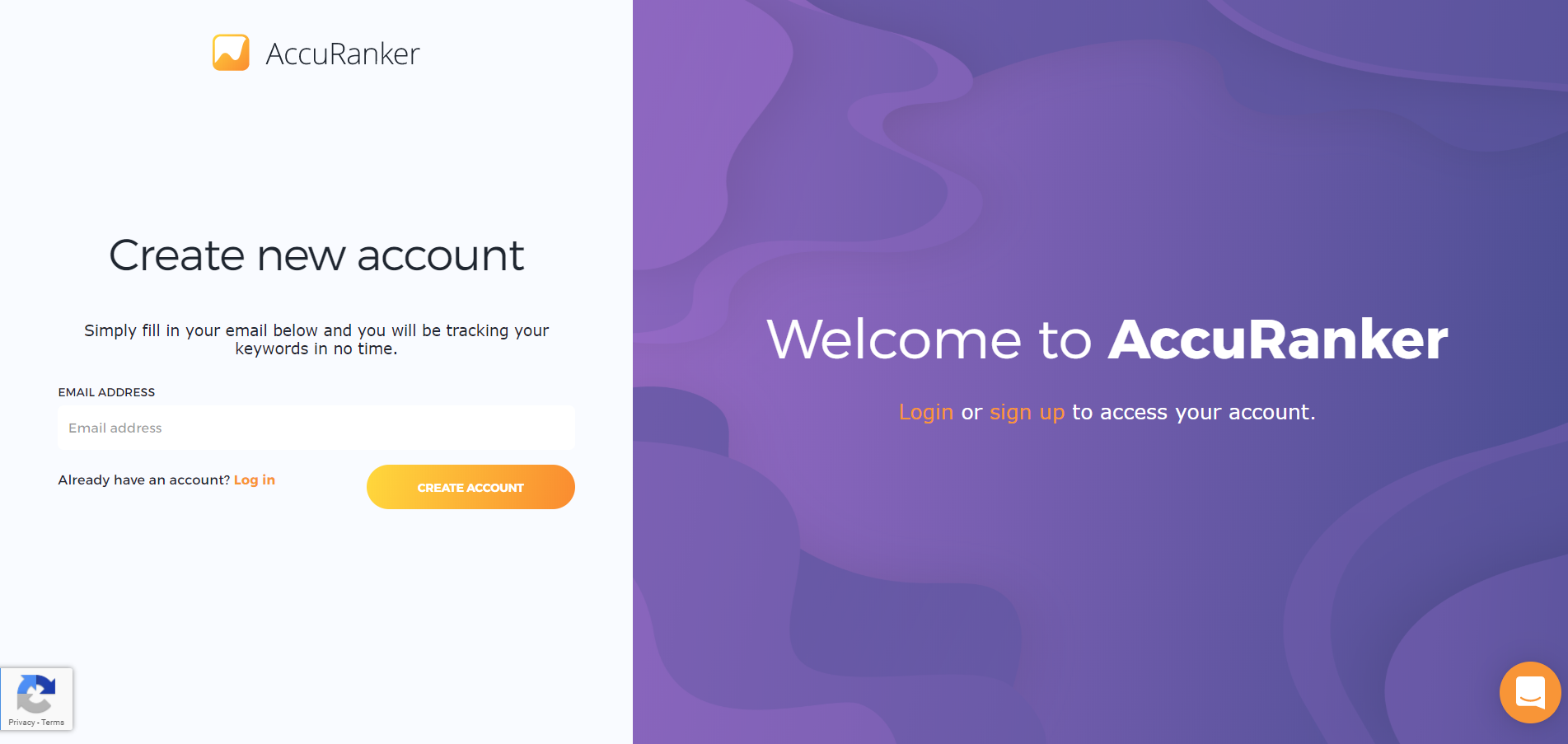 AccuRanker - Create New Account