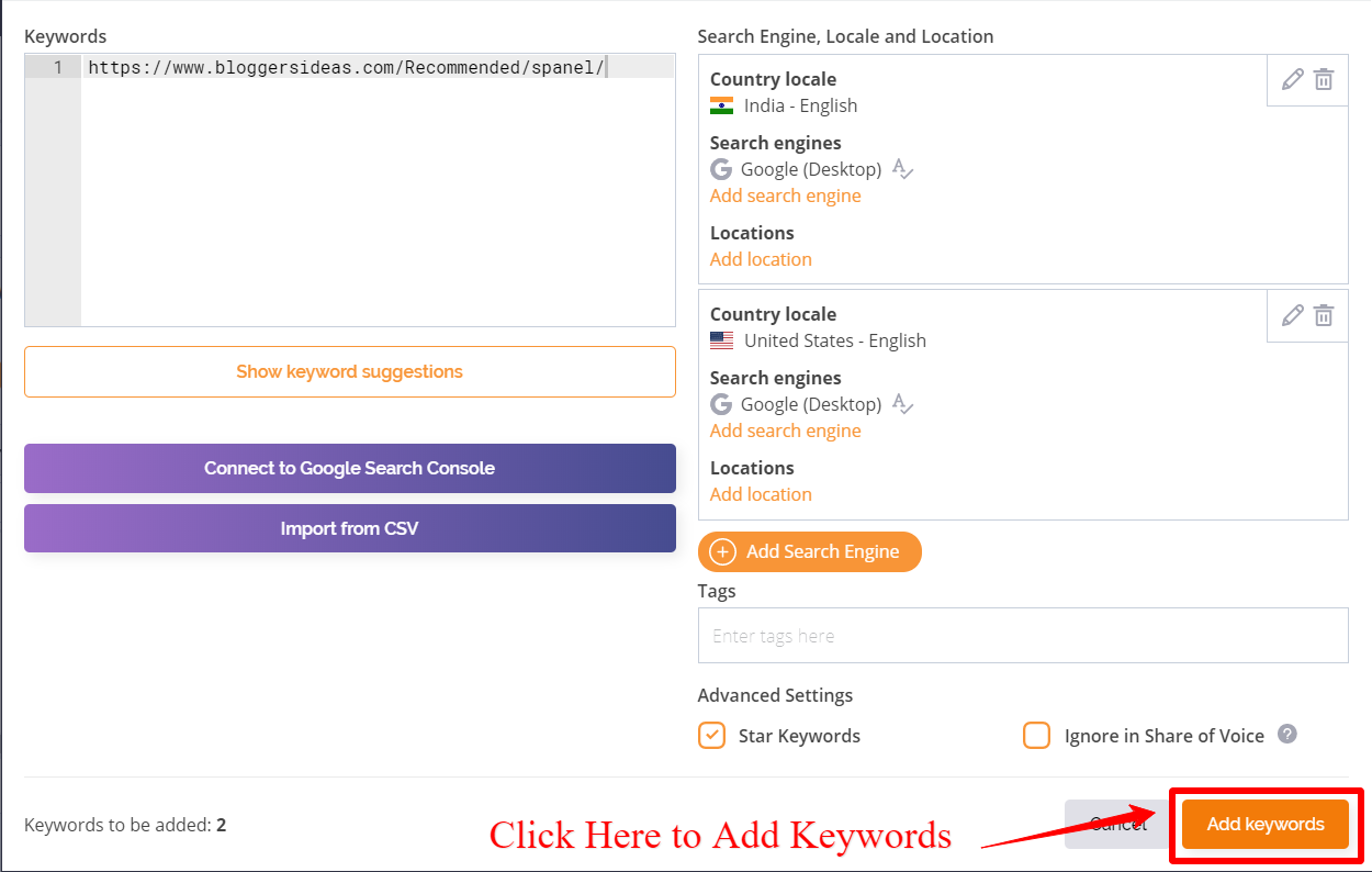 Add Keywords - AccuRanker Review