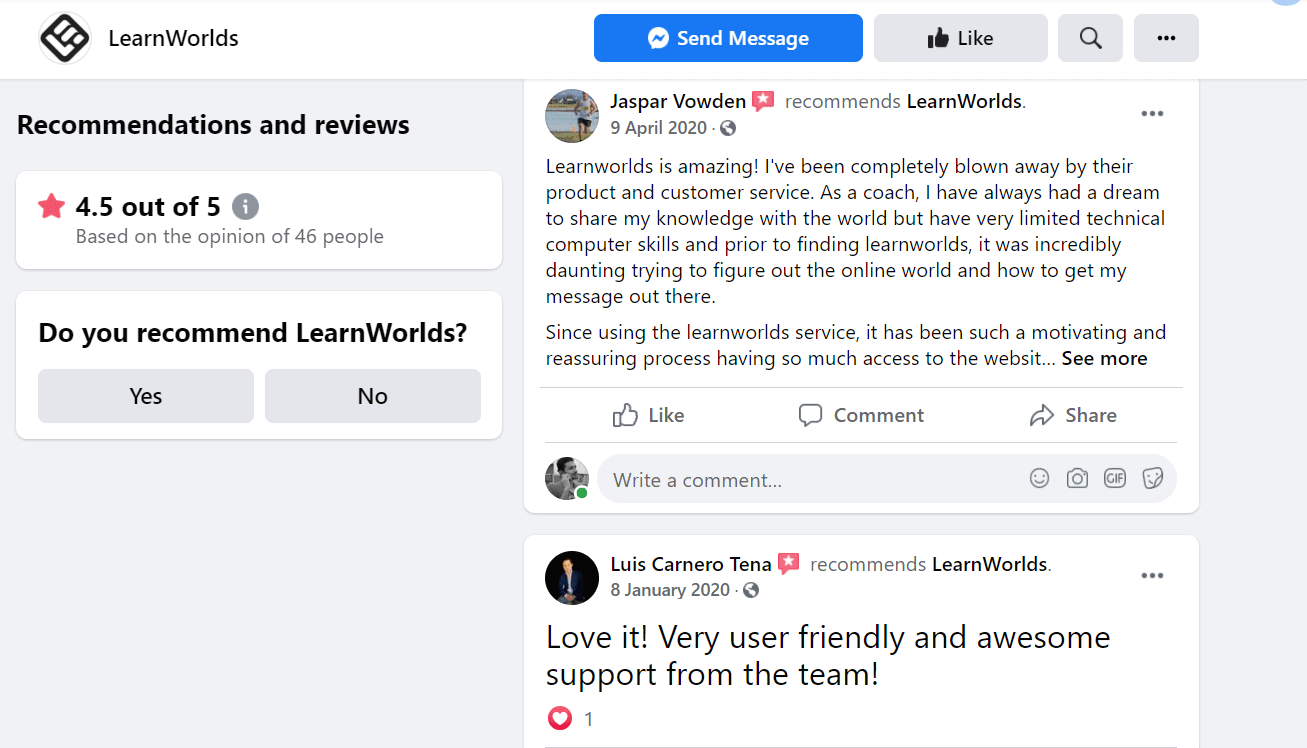 Learnworlds review facebook