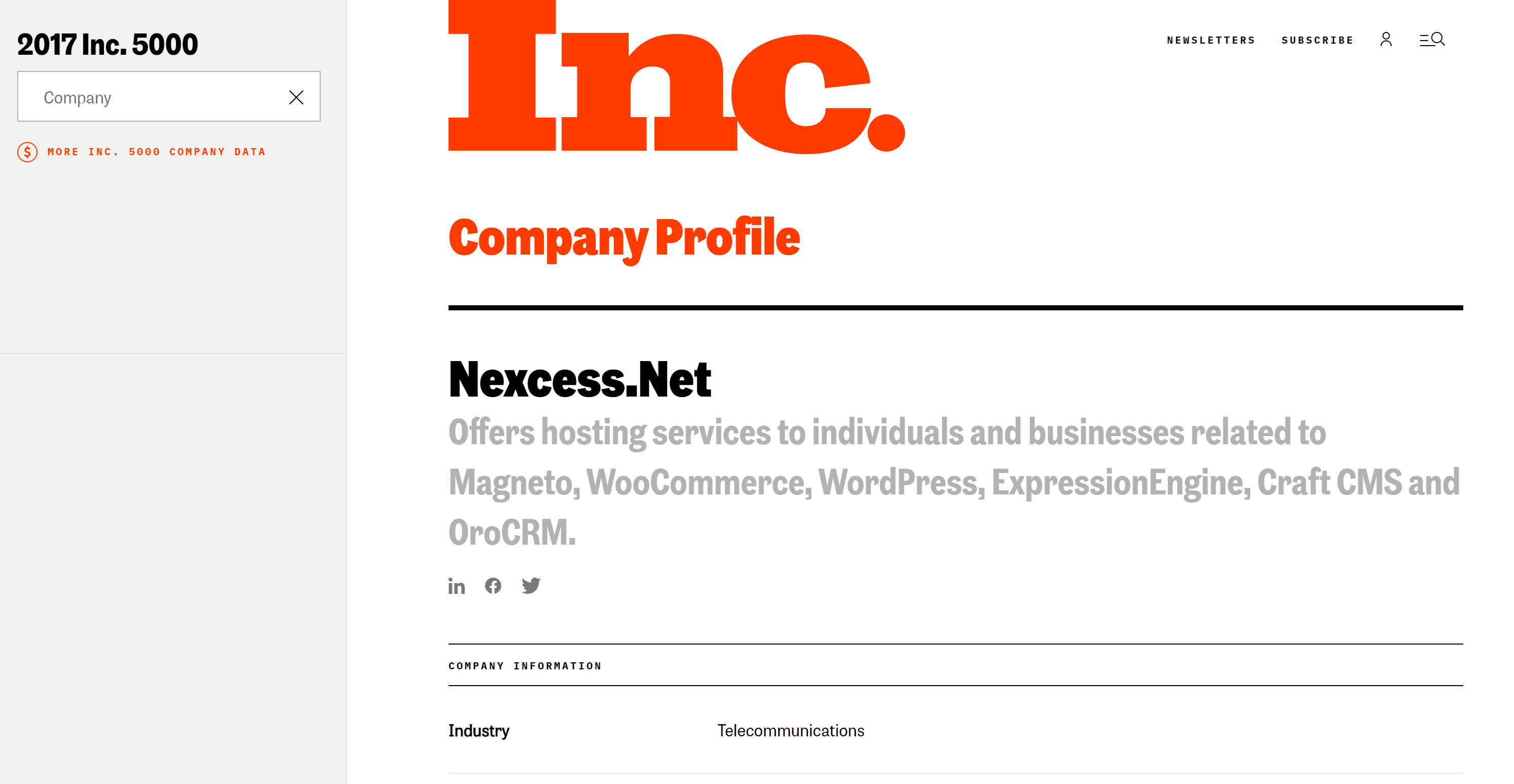 Nexcess has made the Inc 5000 list 8 times since 2010