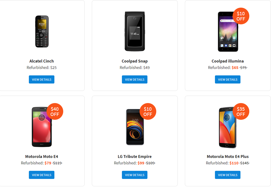 Phones Offered by Tello