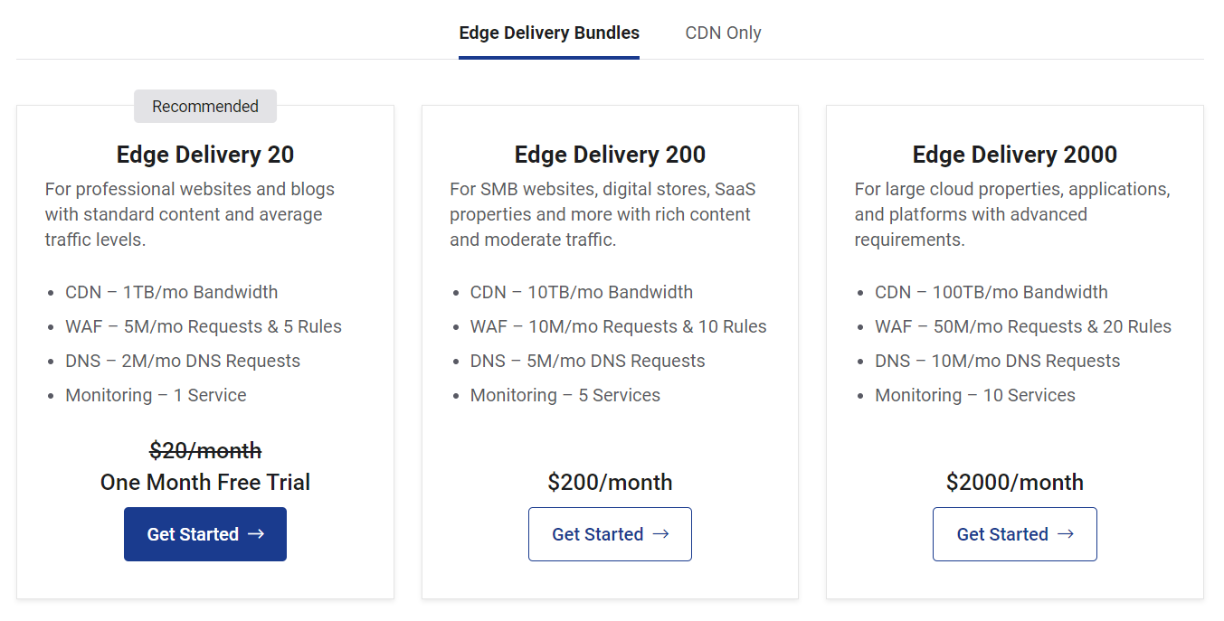 StackPath CDN Pricing - Edge Delivery Bundles