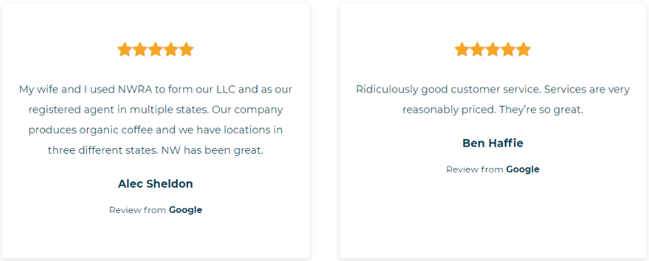 Northwest Registered Agent Review- Customer Review