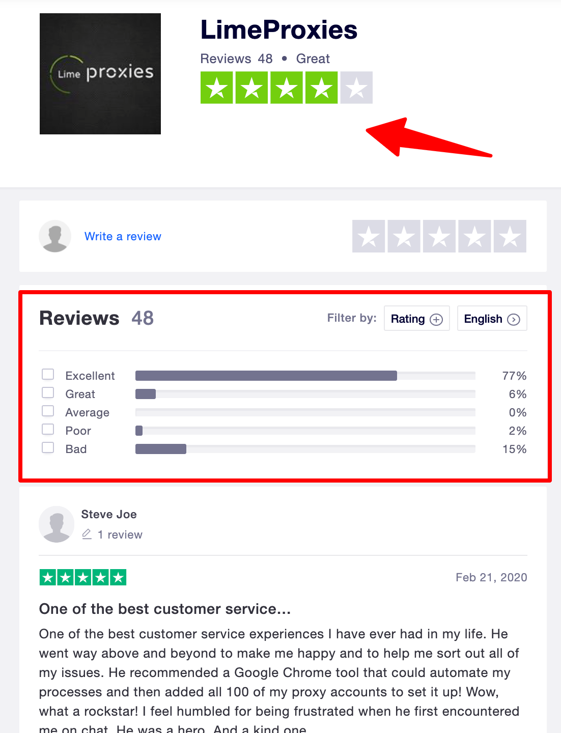 LimeProxies Customer Reviews- TrustPilot